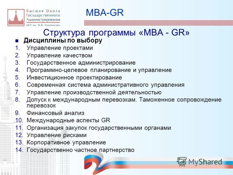 MBA-GR Структура программы «МВА - GR» Дисциплины по выбору 1.Управление проектами 2.Управление качеством 3.Государственное администрирование 4.Программно-целевое планирование и управление 5.Инвестиционное проектирование 6.Современная система админист