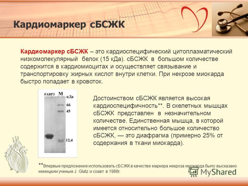 Кардиомаркер сБСЖК Кардиомаркер сБСЖК – это кардиоспецифический цитоплазматический низкомолекулярный белок (15 кДа). сБСЖК в большом количестве содержится в кардиомиоцитах и осуществляет связывание и транспортировку жирных кислот внутри клетки. При н