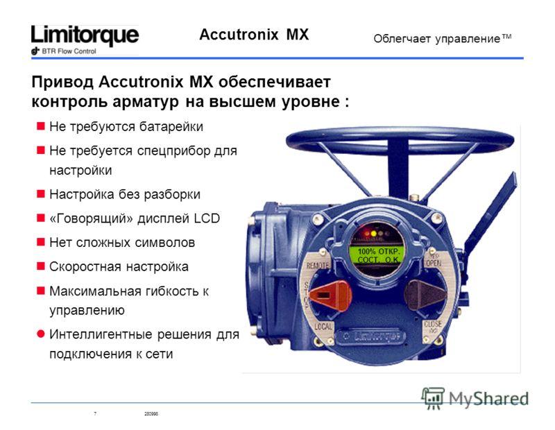 7280998 Accutronix MX Облегчает управление Привод Accutronix MX обеспечивает контроль арматур на высшем уровне : Не требуются батарейки Не требуется спецприбор для настройки Настройка без разборки «Говорящий» дисплей LCD Нет сложных символов Скоростн