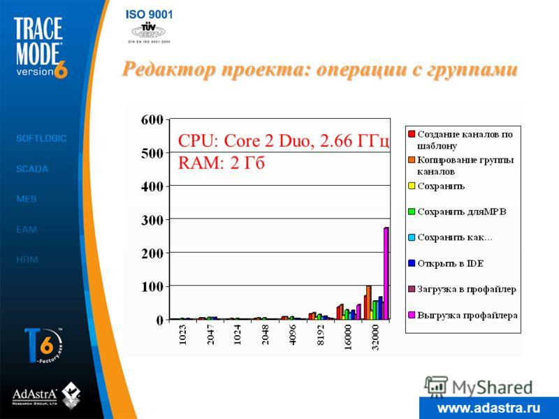 www.adastra.ru Редактор проекта: операции с группами CPU: Core 2 Duo, 2.66 ГГц RAM: 2 Гб