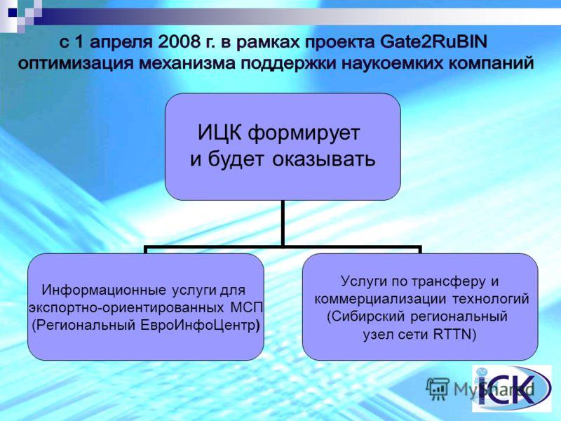 ИЦК формирует и будет оказывать Информационные услуги для экспортно-ориентированных МСП (Региональный ЕвроИнфоЦентр) Услуги по трансферу и коммерциализации технологий (Сибирский региональный узел сети RTTN)