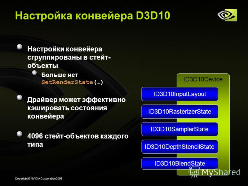 Copyright © NVIDIA Corporation 2005 Настройка конвейера D3D10 Настройки конвейера сгруппированы в стейт- объекты Больше нет SetRenderState(…) Драйвер может эффективно кэшировать состояния конвейера 4096 стейт-объектов каждого типа ID3D10Device ID3D10