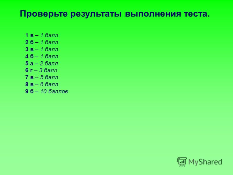1 в – 1 балл 2 б – 1 балл 3 в – 1 балл 4 б – 1 балл 5 а – 2 балл 6 г – 3 балл 7 в – 5 балл 8 в – 6 балл 9 б – 10 баллов Проверьте результаты выполнения теста.