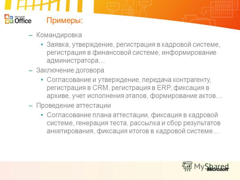 – –Командировка Заявка, утверждение, регистрация в кадровой системе, регистрация в финансовой системе, информирование администратора… – –Заключение договора Согласование и утверждение, передача контрагенту, регистрация в CRM, регистрация в ERP, фикса