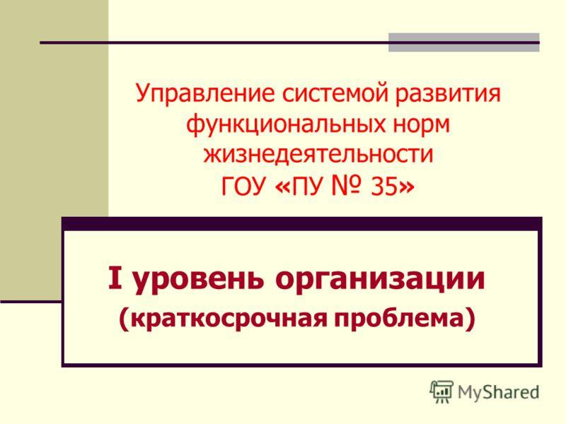 Управление системой развития функциональных норм жизнедеятельности ГОУ «ПУ 35» I уровень организации (краткосрочная проблема)