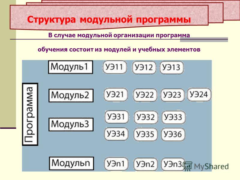Структура модульной программы В случае модульной организации программа обучения состоит из модулей и учебных элементов