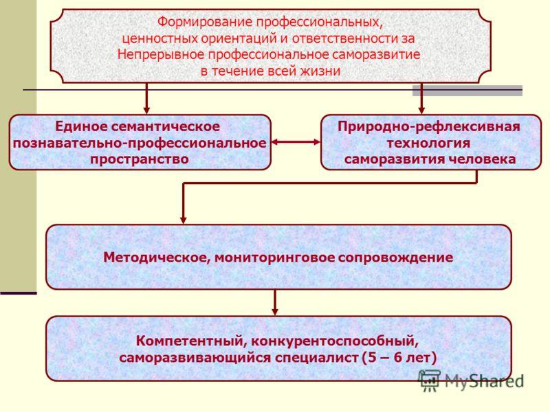 Формирование профессиональных, ценностных ориентаций и ответственности за Непрерывное профессиональное саморазвитие в течение всей жизни Единое семантическое познавательно-профессиональное пространство Методическое, мониторинговое сопровождение Приро