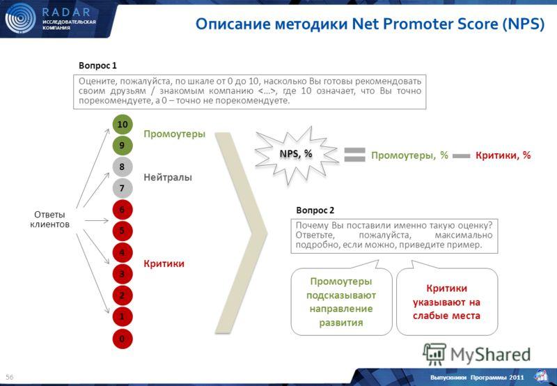 ИССЛЕДОВАТЕЛЬСКАЯ КОМПАНИЯ R A D A R Выпускники Программы 2011 56 Промоутеры, % Описание методики Net Promoter Score (NPS) Оцените, пожалуйста, по шкале от 0 до 10, насколько Вы готовы рекомендовать своим друзьям / знакомым компанию, где 10 означает,
