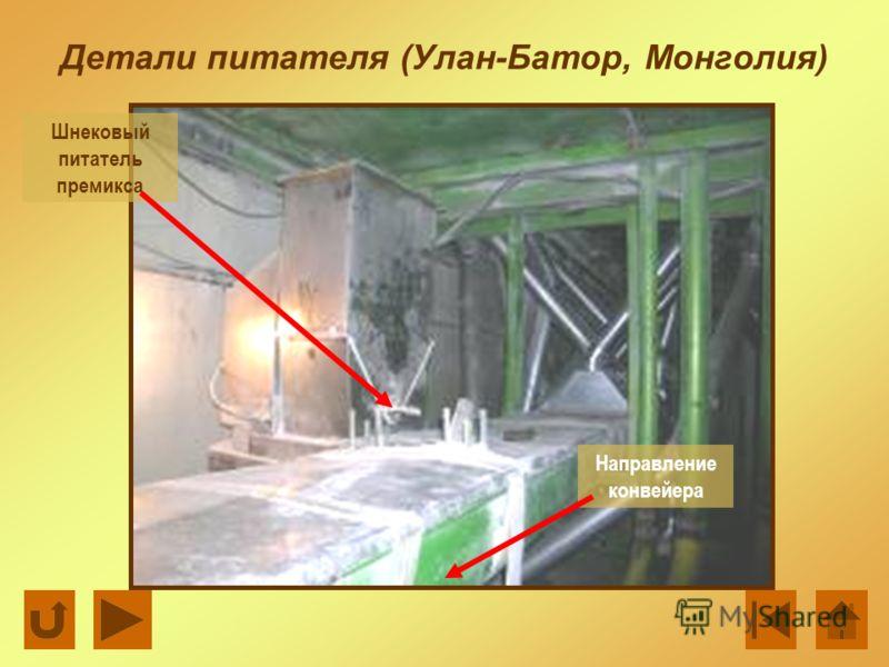 Детали питателя (Улан-Батор, Монголия) Шнековый питатель премикса Направление конвейера