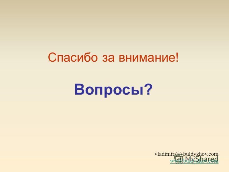 vladimir (a) buldyzhov.com www.buldyzhov.com www.buldyzhov.com Спасибо за внимание! Вопросы?