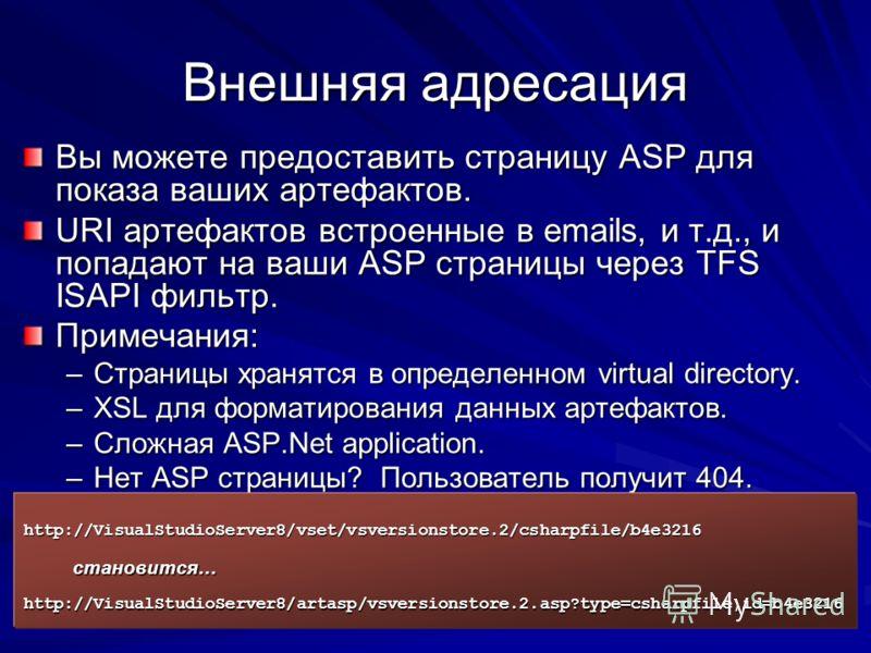 Внешняя адресация Вы можете предоставить страницу ASP для показа ваших артефактов. URI артефактов встроенные в emails, и т.д., и попадают на ваши ASP страницы через TFS ISAPI фильтр. Примечания: –Страницы хранятся в определенном virtual directory. –X