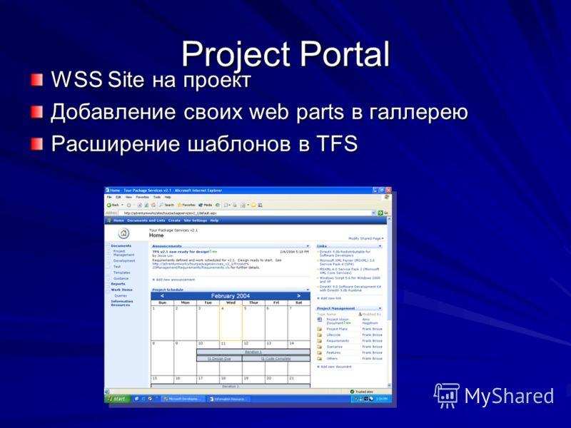 Project Portal WSS Site на проект Добавление своих web parts в галлерею Расширение шаблонов в ТFS
