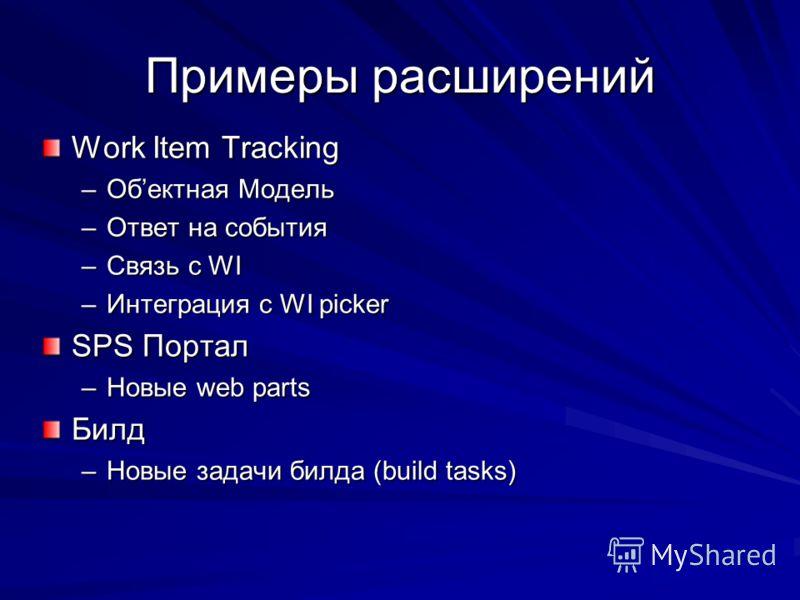 Примеры расширений Work Item Tracking –Обектная Модель –Ответ на события –Связь с WI –Интеграция с WI picker SPS Портал –Новые web parts Билд –Новые задачи билда (build tasks)
