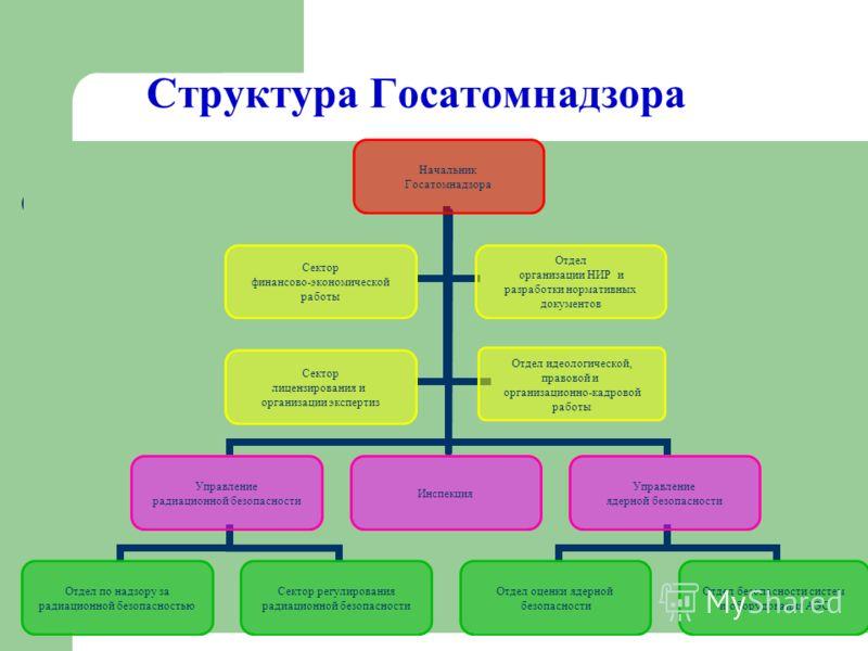 Структура Госатомнадзора Начальник Госатомнадзора Управление радиационной безопасности Отдел по надзору за радиационной безопасностью Сектор регулирования радиационной безопасности Инспекция Управление ядерной безопасности Отдел оценки ядерной безопа