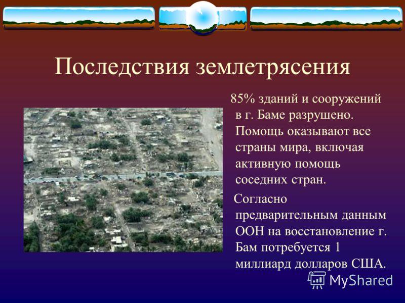 Последствия землетрясения 85% зданий и сооружений в г. Баме разрушено. Помощь оказывают все страны мира, включая активную помощь соседних стран. Согласно предварительным данным ООН на восстановление г. Бам потребуется 1 миллиард долларов США.
