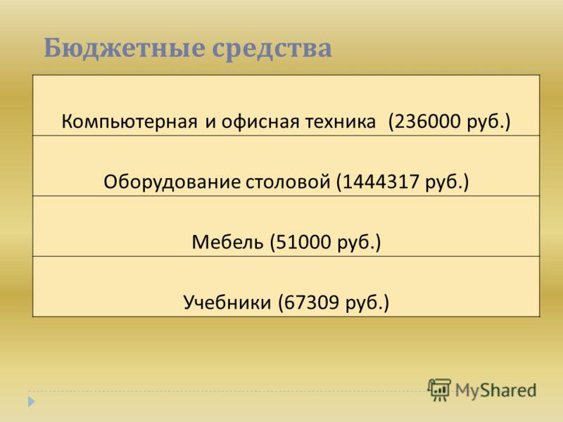 Бюджетные средства Компьютерная и офисная техника (236000 руб.) Оборудование столовой (1444317 руб.) Мебель (51000 руб.) Учебники (67309 руб.)