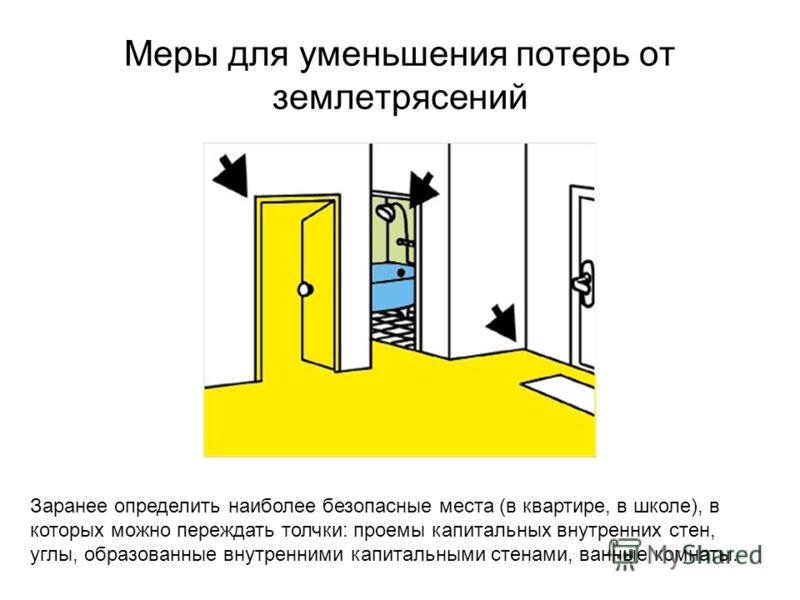 Меры для уменьшения потерь от землетрясений Заранее определить наиболее безопасные места (в квартире, в школе), в которых можно переждать толчки: проемы капитальных внутренних стен, углы, образованные внутренними капитальными стенами, ванные комнаты.