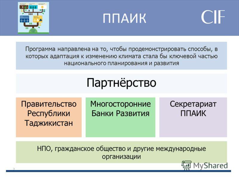 ППАИК 2 Программа направлена на то, чтобы продемонстрировать способы, в которых адаптация к изменению климата стала бы ключевой частью национального планирования и развития Партнёрство Правительство Республики Таджикистан Многосторонниe Банки Развити