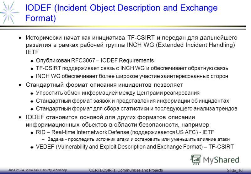 June 21-24, 2004 Silk Security Workshop CERTs/CSIRTs: Communities and Projects Slide_16 IODEF (Incident Object Description and Exchange Format) Исторически начат как инициатива TF-CSIRT и передан для дальнейшего развития в рамках рабочей группы INCH