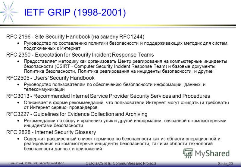 June 21-24, 2004 Silk Security Workshop CERTs/CSIRTs: Communities and Projects Slide_20 IETF GRIP (1998-2001) RFC 2196 - Site Security Handbook (на замену RFC1244) Руководство по составлению политики безопасности и поддерживающих методик для систем,