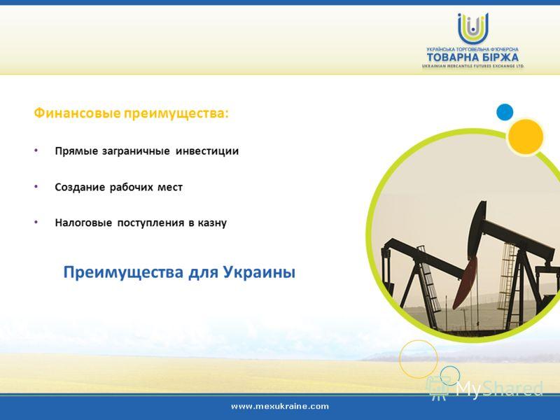 Преимущества для Украины Финансовые преимущества: Прямые заграничные инвестиции Создание рабочих мест Налоговые поступления в казну
