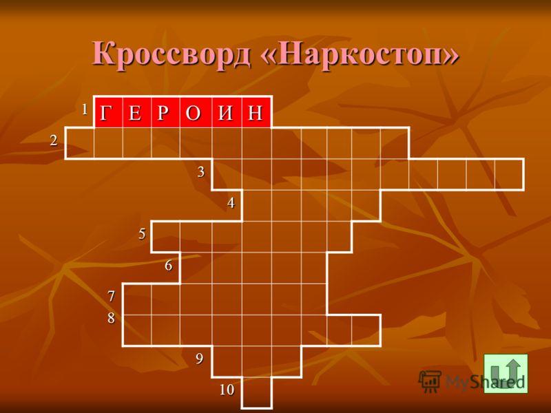 Кроссворд «Наркостоп» 1ГЕРОИН 2 3 4 5 6 7 8 9 10 10