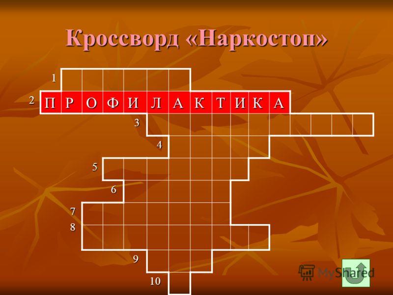 Кроссворд «Наркостоп» 1 2ПРОФИЛАКТИКА 3 4 5 6 7 8 9 10 10