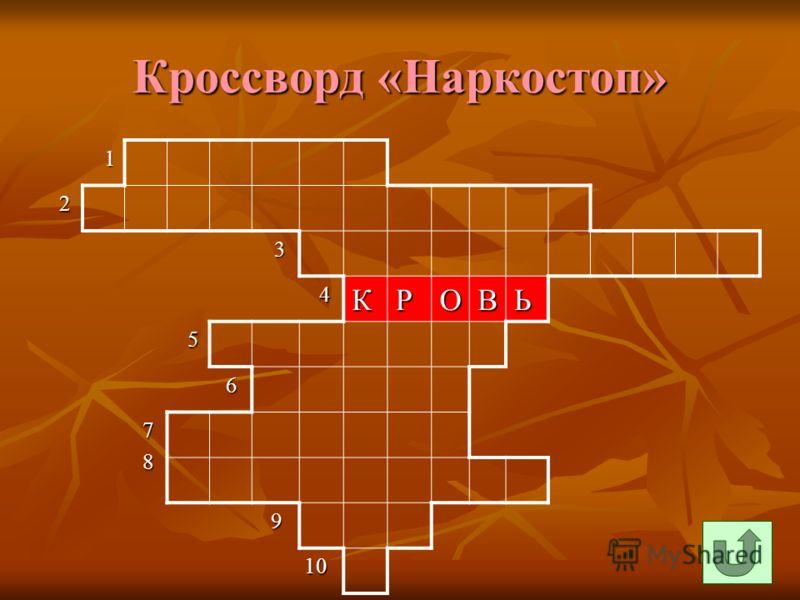 Кроссворд «Наркостоп» 1 2 3 4КРОВЬ 5 6 7 8 9 10 10