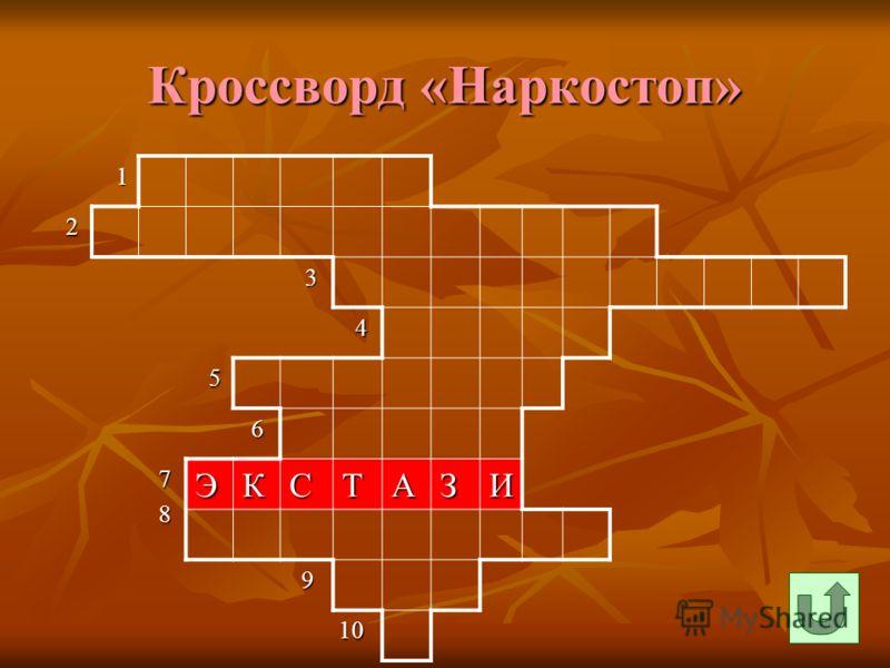 Кроссворд «Наркостоп» 1 2 3 4 5 6 7 8ЭКСТАЗИ 9 10 10