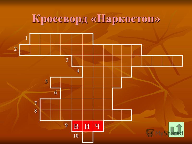 Кроссворд «Наркостоп» 1 2 3 4 5 6 7 8 9ВИЧ 10 10