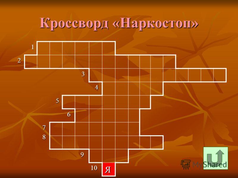Кроссворд «Наркостоп» 1 2 3 4 5 6 7 8 9 10 10Я