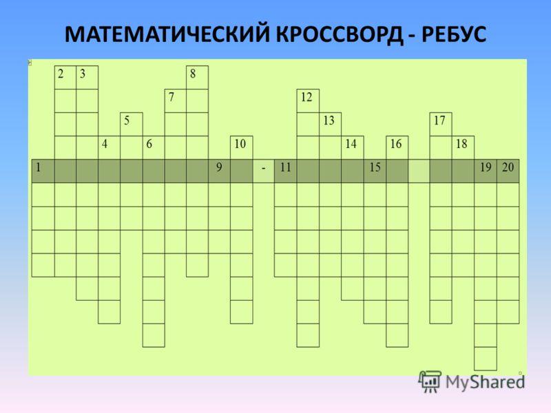 МАТЕМАТИЧЕСКИЙ КРОССВОРД - РЕБУС