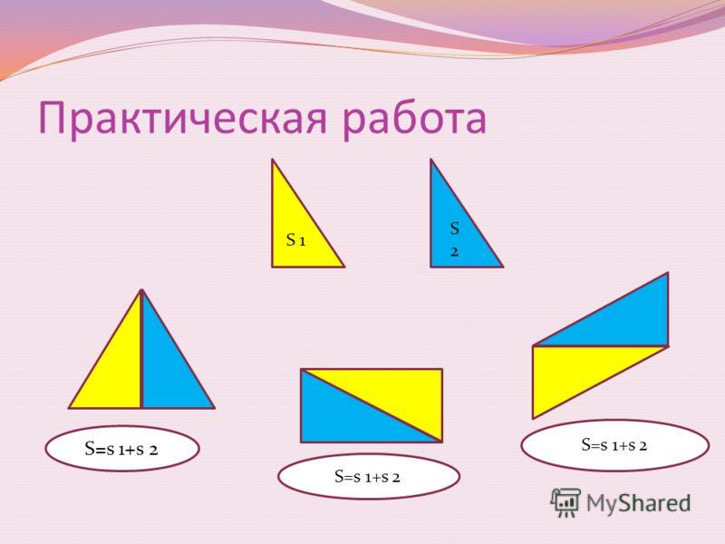 Если многоугольник состоит из нескольких многоугольников, то его площадь равна сумме площадей этих многоугольников. s S 2 S 1 s 3 S=S1+S2+S3