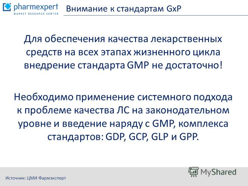Внимание к стандартам GxP Для обеспечения качества лекарственных средств на всех этапах жизненного цикла внедрение стандарта GMP не достаточно! Необходимо применение системного подхода к проблеме качества ЛС на законодательном уровне и введение наряд