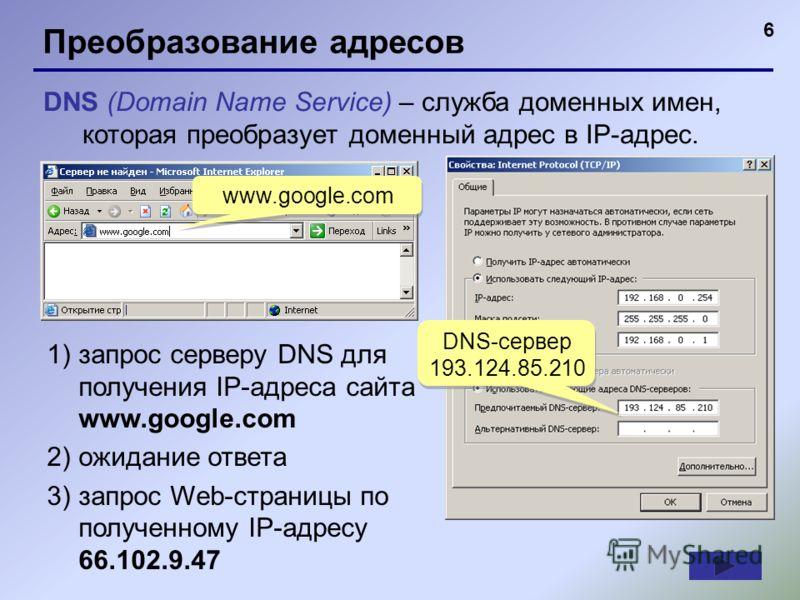6 Преобразование адресов DNS (Domain Name Service) – служба доменных имен, которая преобразует доменный адрес в IP-адрес. www.google.com 1)запрос серверу DNS для получения IP-адреса сайта www.google.com 2)ожидание ответа 3)запрос Web-страницы по полу