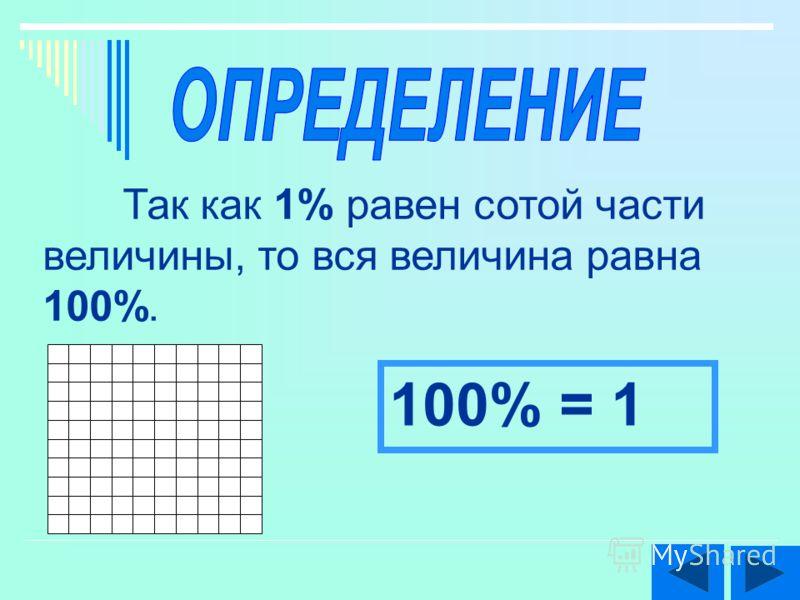 Так как 1% равен сотой части величины, то вся величина равна 100%. 100% = 1