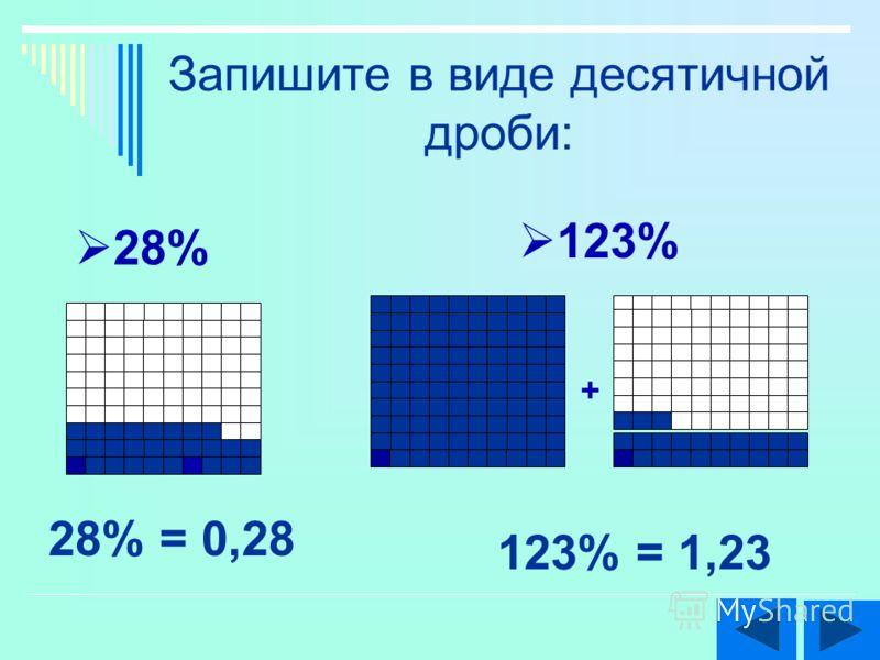 Запишите в виде десятичной дроби: 28% 123% + 123% = 1,23 28% = 0,28
