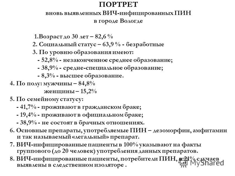 ПОРТРЕТ вновь выявленных ВИЧ-инфицированных ПИН в городе Вологде 1.Возраст до 30 лет – 82,6 % 2. Социальный статус – 63,9 % - безработные 3. По уровню образования имеют: - 52,8% - незаконченное среднее образование; - 38,9% - средне-специальное образо