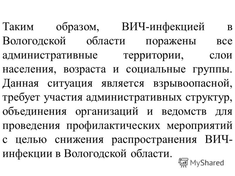 Таким образом, ВИЧ-инфекцией в Вологодской области поражены все административные территории, слои населения, возраста и социальные группы. Данная ситуация является взрывоопасной, требует участия административных структур, объединения организаций и ве