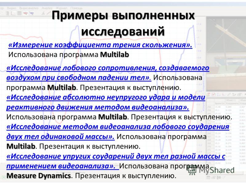 Примеры выполненных исследований Multilab «Измерение коэффициента трения скольжения». Использована программа Multilab «Измерение коэффициента трения скольжения». Multilab «Исследование лобового сопротивления, создаваемого воздухом при свободном паден
