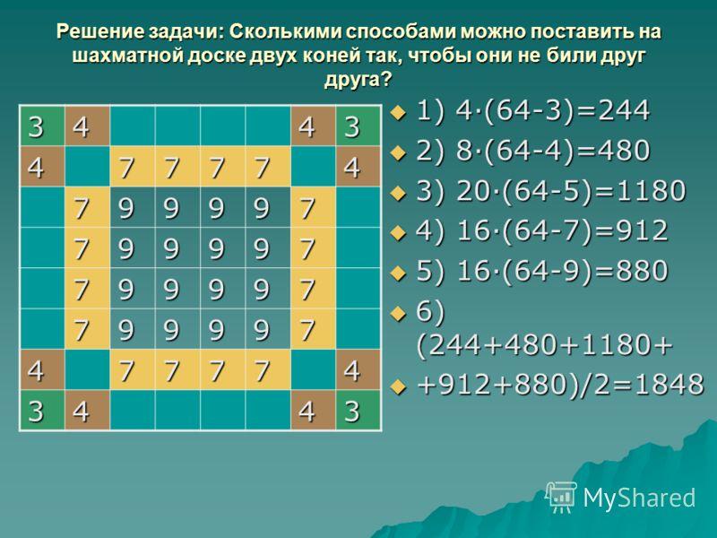 Решение задачи: Сколькими способами можно поставить на шахматной доске двух коней так, чтобы они не били друг друга? 1) 4·(64-3)=244 1) 4·(64-3)=244 2) 8·(64-4)=480 2) 8·(64-4)=480 3) 20·(64-5)=1180 3) 20·(64-5)=1180 4) 16·(64-7)=912 4) 16·(64-7)=912