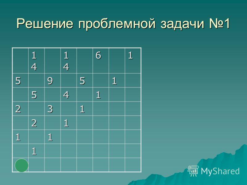 Решение проблемной задачи 1 14141414 1414141461 5951 541 231 21 11 1