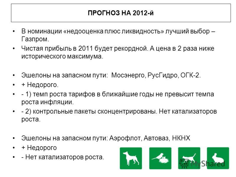 ПРОГНОЗ НА 2012-й В номинации «недооценка плюс ликвидность» лучший выбор – Газпром. Чистая прибыль в 2011 будет рекордной. А цена в 2 раза ниже исторического максимума. Эшелоны на запасном пути: Мосэнерго, РусГидро, ОГК-2. + Недорого. - 1) темп роста