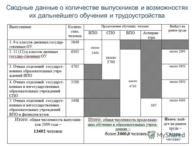 Сводные данные о количестве выпускников и возможностях их дальнейшего обучения и трудоустройства 13500 человек