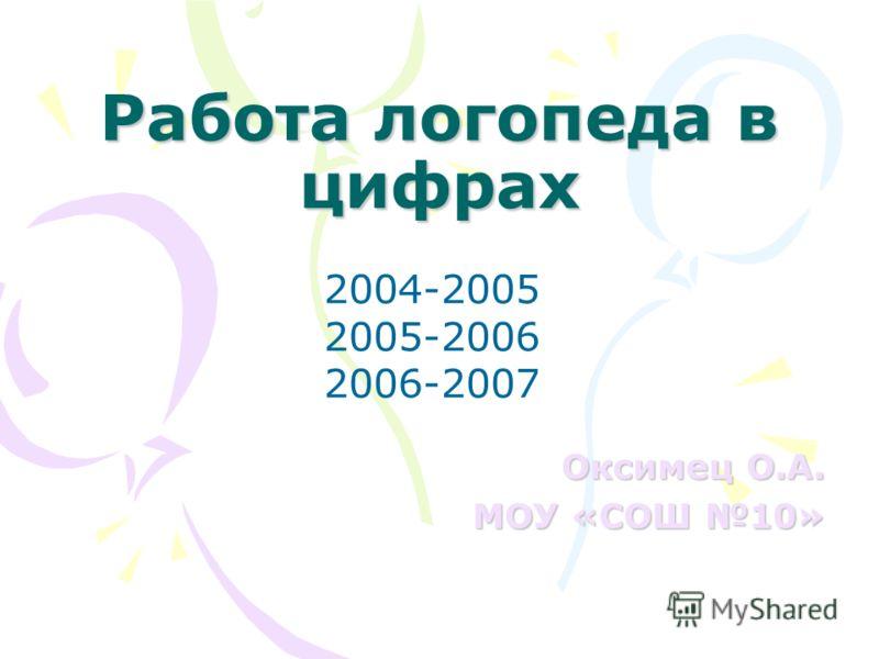 Работа логопеда в цифрах Оксимец О.А. МОУ «СОШ 10» 2004-2005 2005-2006 2006-2007