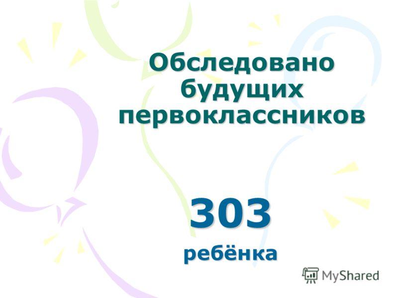 Обследовано будущих первоклассников 303ребёнка