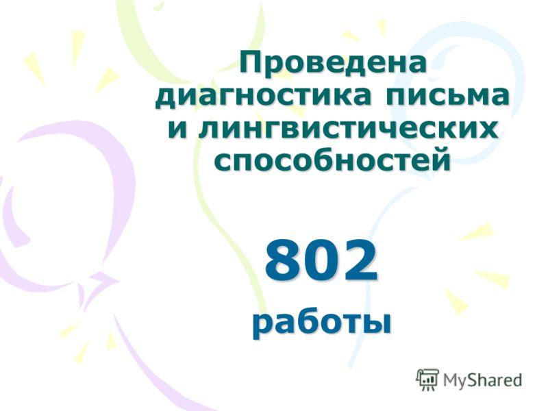 Проведена диагностика письма и лингвистических способностей 802работы