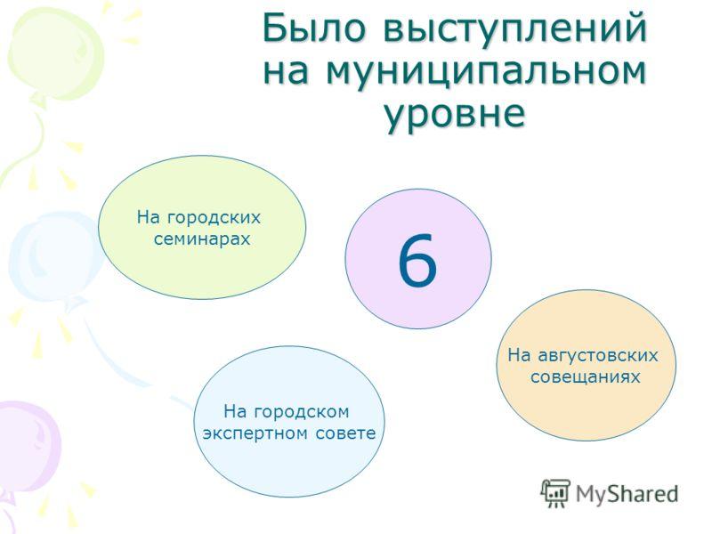 Было выступлений на муниципальном уровне 6 На городских семинарах На городском экспертном совете На августовских совещаниях