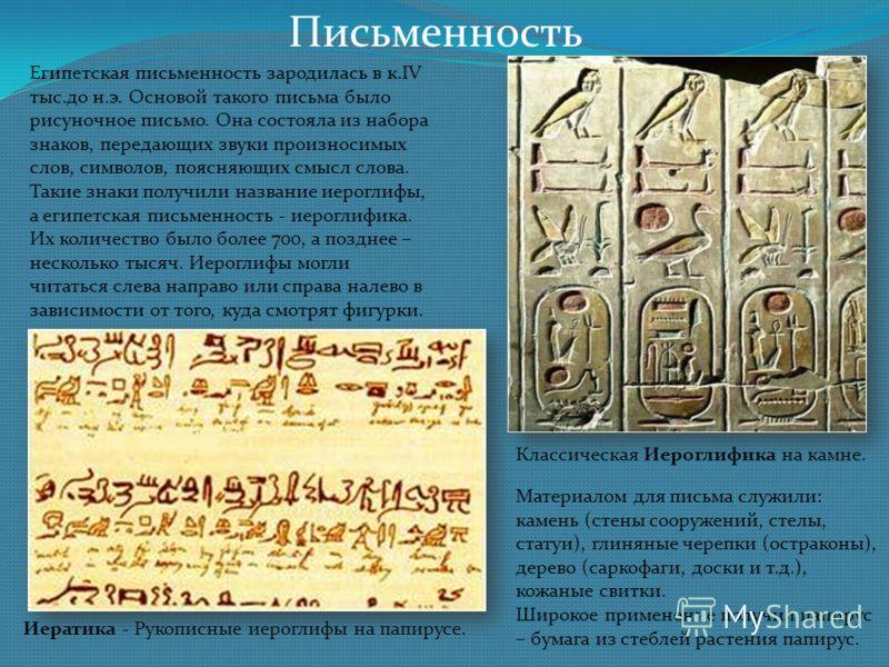 Письменность Египетская письменность зародилась в к.IV тыс.до н.э. Основой такого письма было рисуночное письмо. Она состояла из набора знаков, передающих звуки произносимых слов, символов, поясняющих смысл слова. Такие знаки получили название иерогл