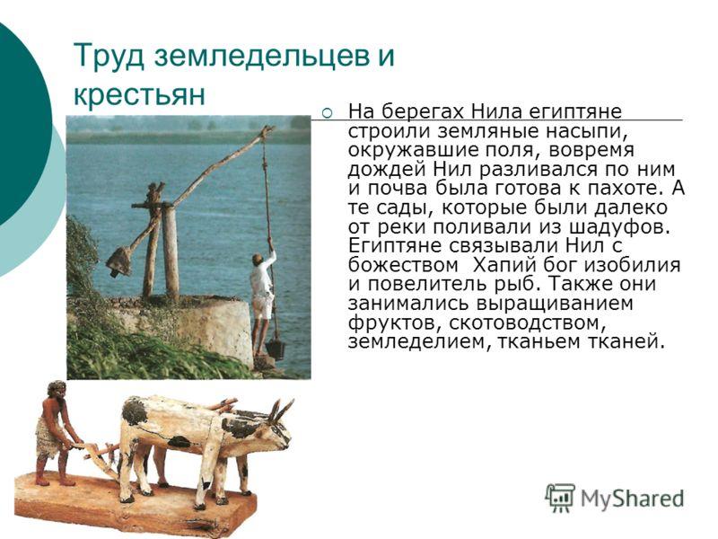 Труд земледельцев и крестьян На берегах Нила египтяне строили земляные насыпи, окружавшие поля, вовремя дождей Нил разливался по ним и почва была готова к пахоте. А те сады, которые были далеко от реки поливали из шадуфов. Египтяне связывали Нил с бо